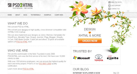 psd2html 40 Beautiful PSD Slicing Websites